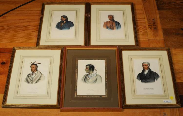 Five JT Bowen Lithographs Native American Chiefs