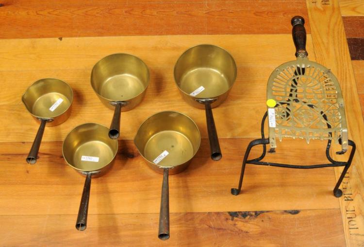 Set 5 Graduated Iron Handled Pans, Brass Trivet