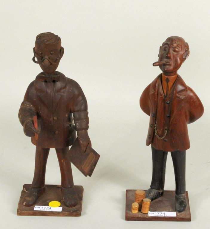 Pair Carved Mixed Woods & Metal Caricatures