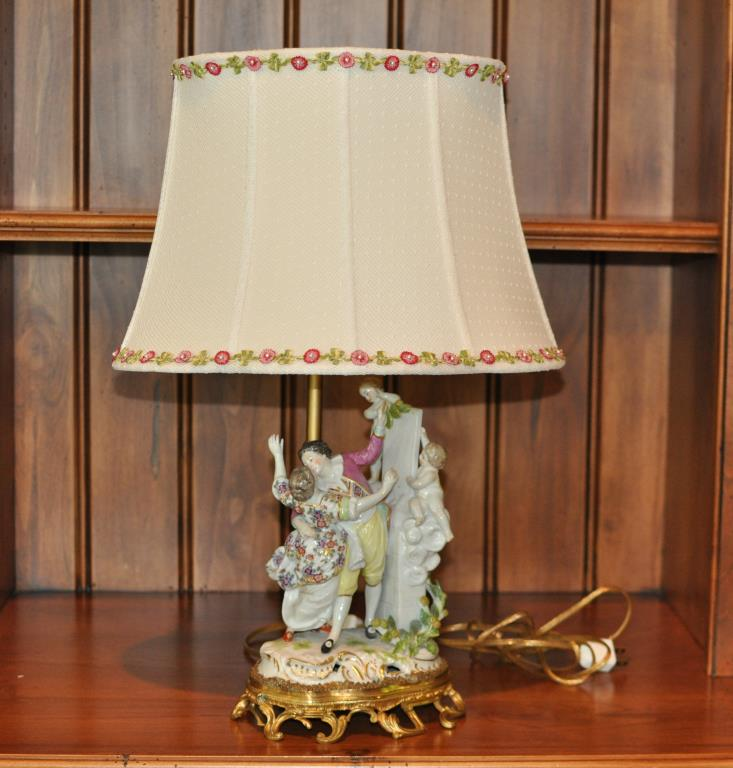 Gilt Bronze Mounted Continental Porcelain Lamp