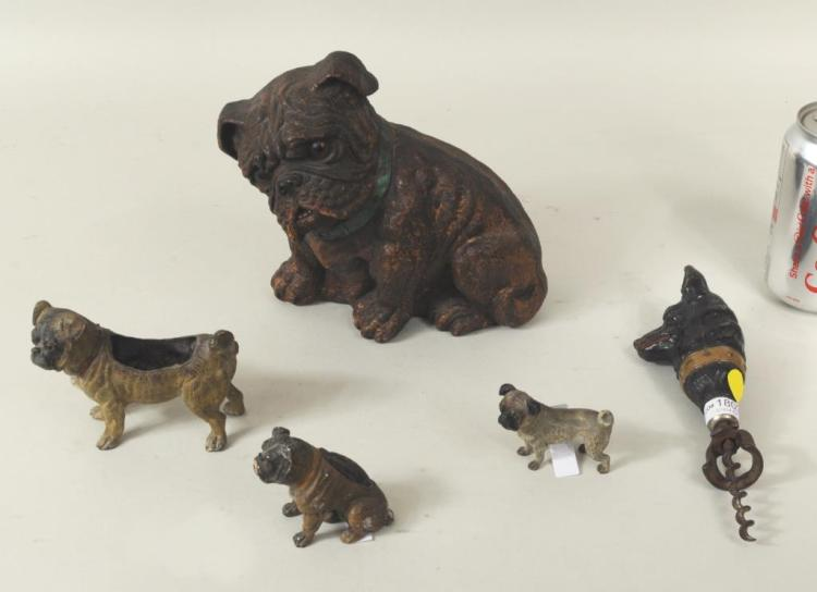 Five Small Figural Dog Items