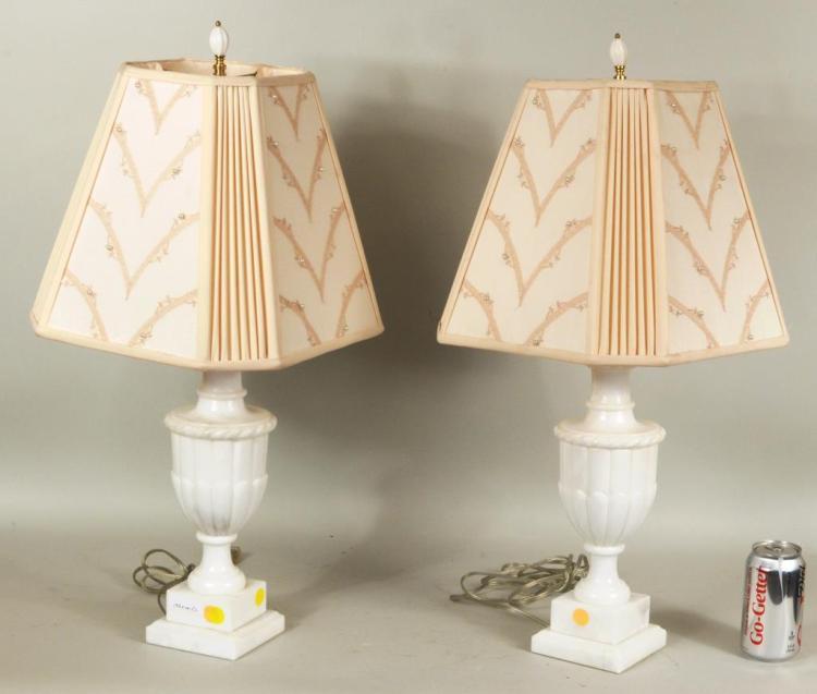 Pair Carved Alabaster Urn Form Lamps