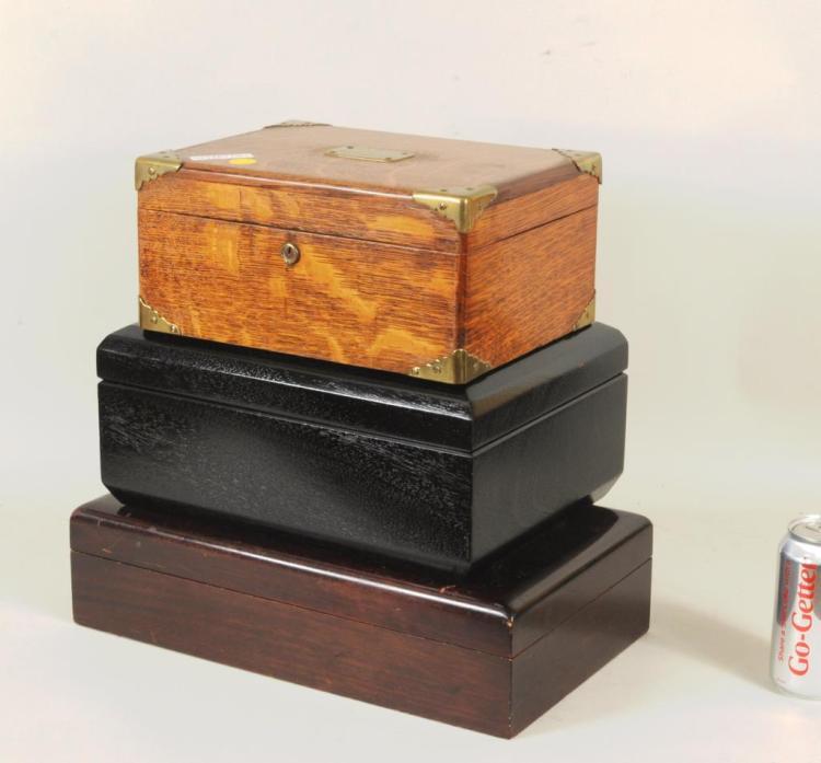 Group Three Vintage Wood Humidors & Contents