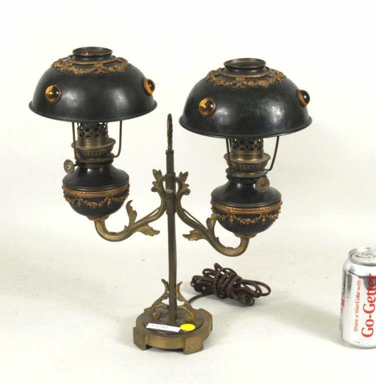 German Victorian Wild & Wessel Brass & Tole Lamp