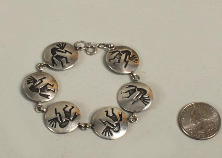 Native American Sterling Kokopelli Link Bracelet