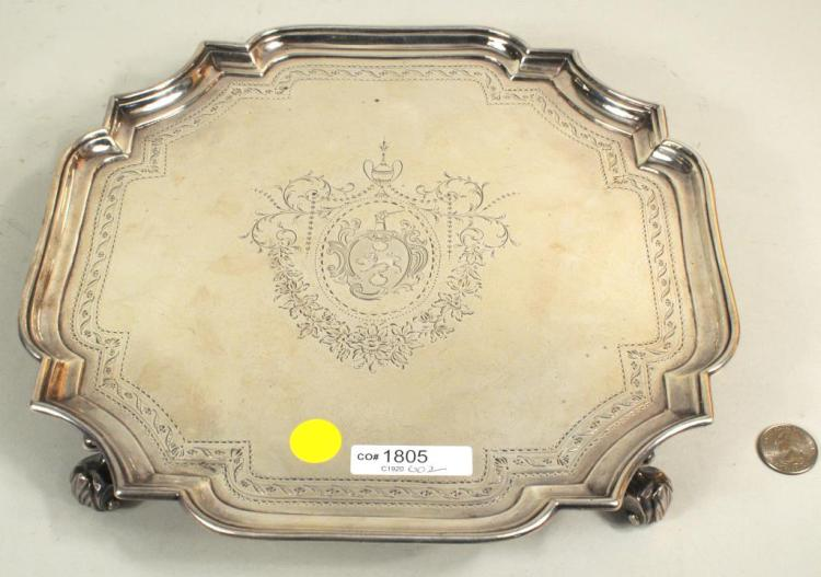 J. Tuite, Sterling Silver Footed Salver