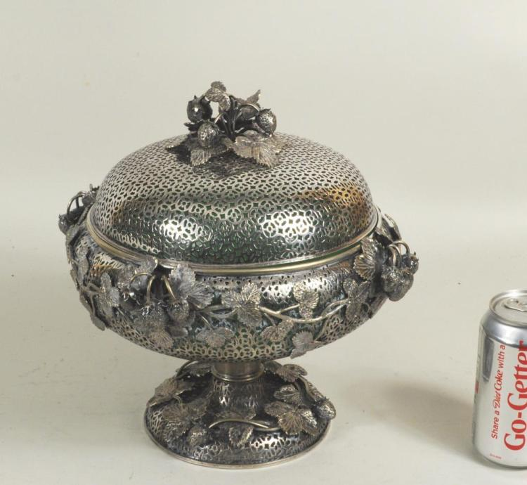 Elaborate Silver Plated Footed Bowl/Cover