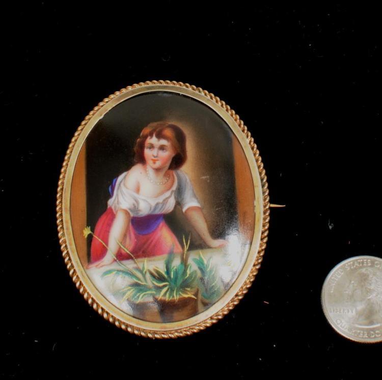 10K Gold Framed Oval Enameled Porcelain Brooch