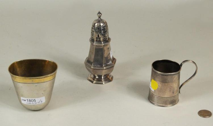 German, Irish & English Silver Cups/Castor