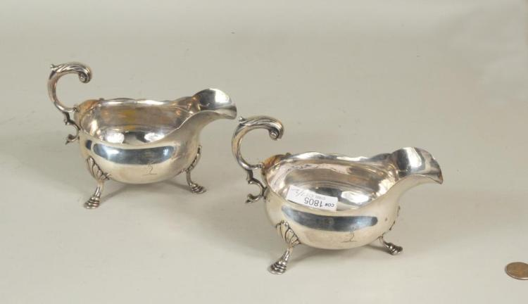 Pair English Sterling Silver Crested Sauce Boats