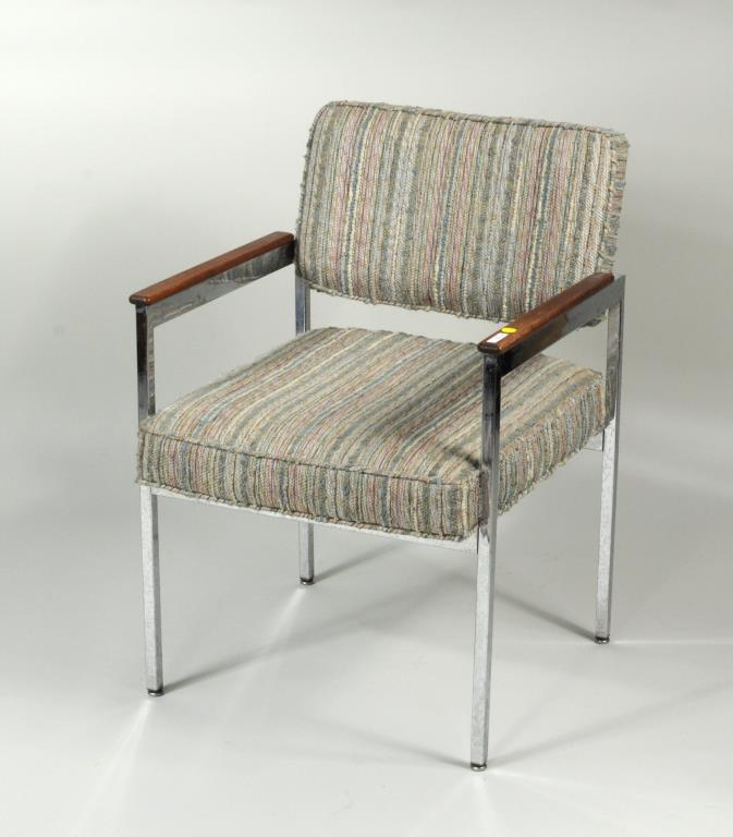 Modern Chrome Upholstered Arm Chair