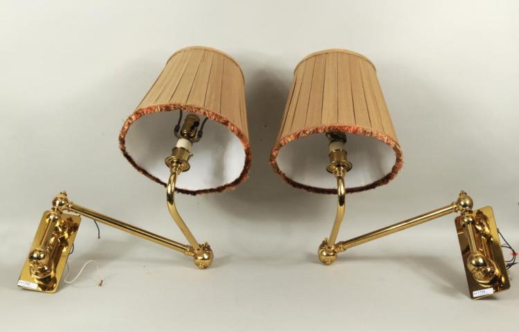 Pair Brass Adjustable Single Arm Sconces