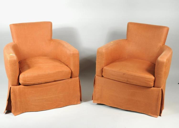 Pair Mid-Century Upholstered Tub Chairs