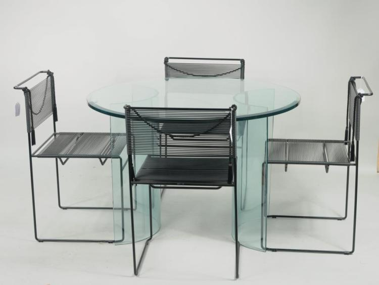 Modern Round Glass Table W/Beveled Top, 4 Chairs