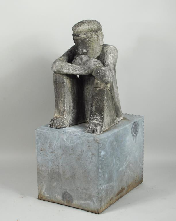 Large Mayan Style Cement Seated Figure/Stand