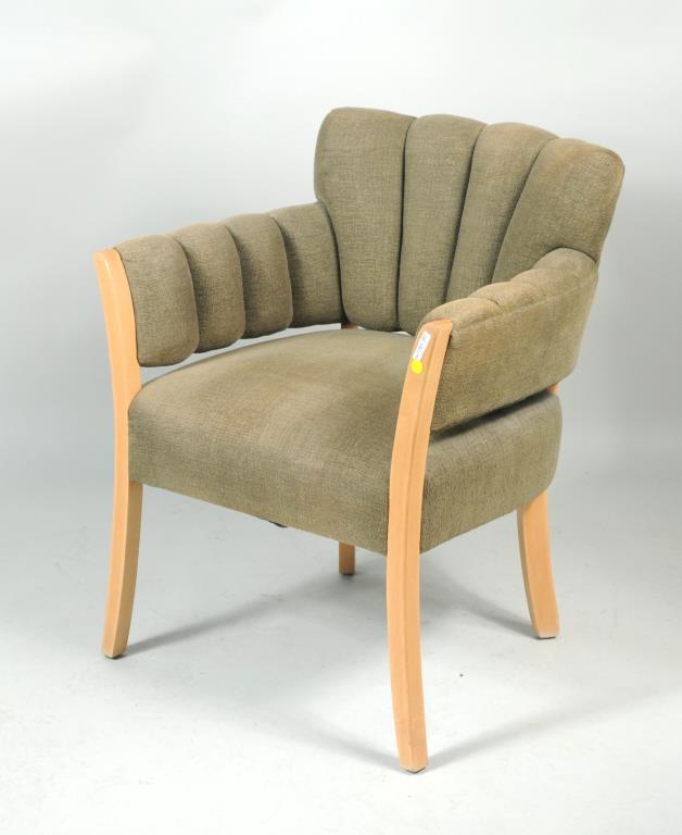 Modernist White Oak Upholstered Arm Chair