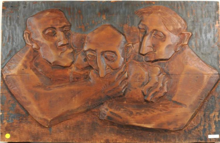 American School Mid-Century Relief Carving, 3 Men