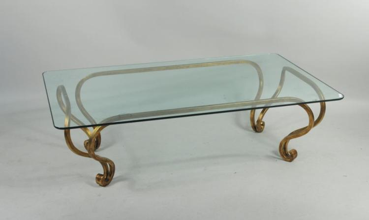 Contemporary Gilt Metal Glass Top Cocktail Table