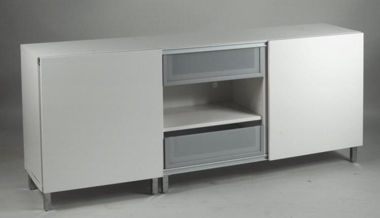 Modern White Formica Credenza Cabinet