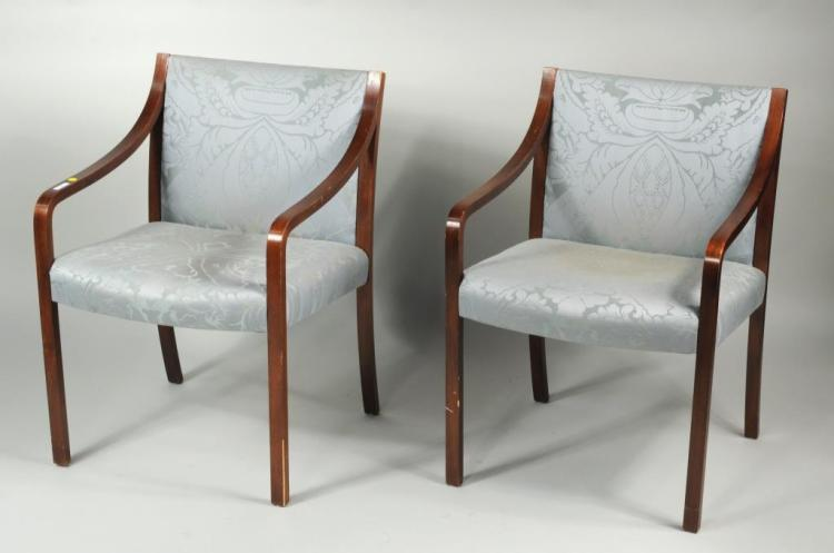 Pair Mid-Century Laminated Wood Arm Chairs