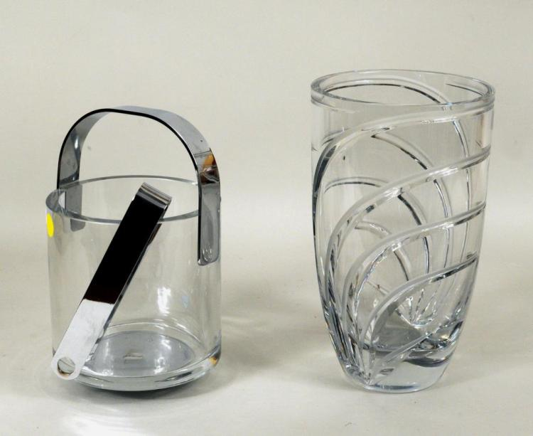 Two Colorless Modern Glass Items