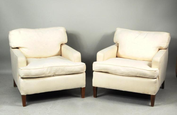 Pair Modern Upholstered Club Chairs