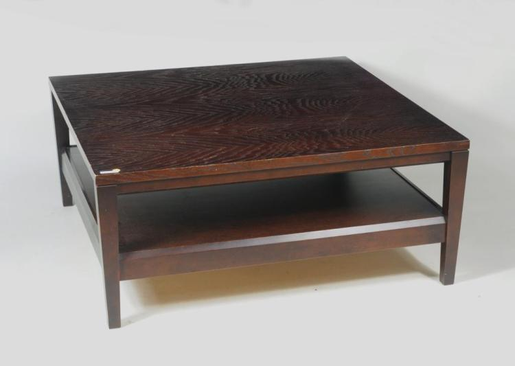 Modernist Square Stained Wood Coffee Table