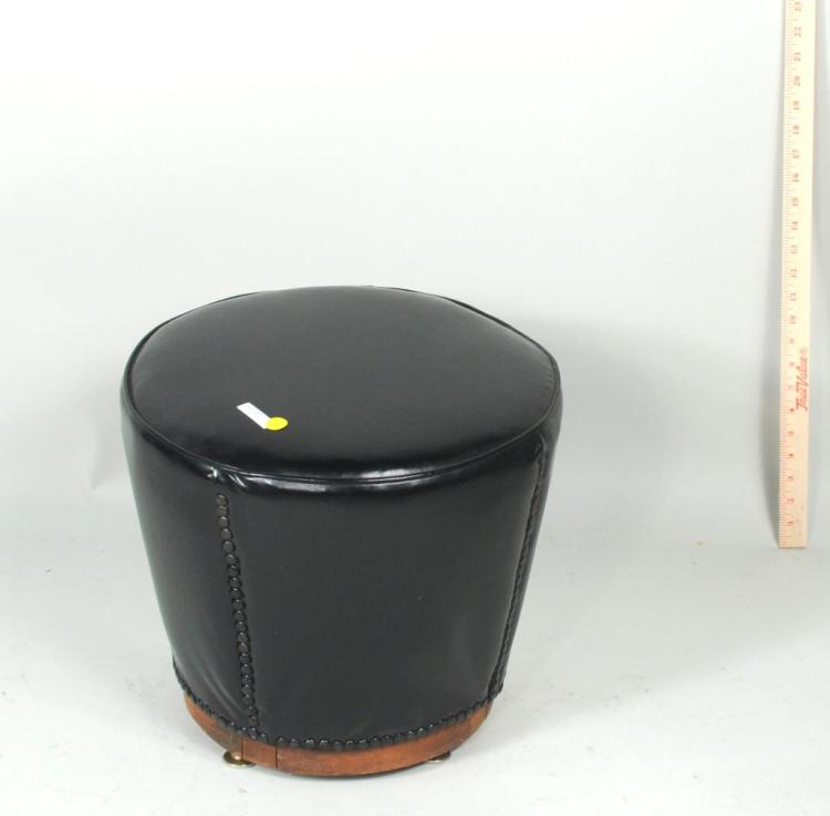 Modernist Leather Ottoman