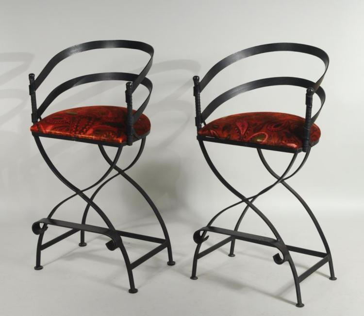 Pair Modern Wrought Iron Bar Stools