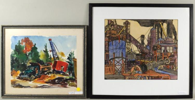 An Ink & Watercolor Industrial Scene