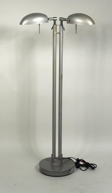 Modernist Chrome Adjustable 2 Light Floor Lamp