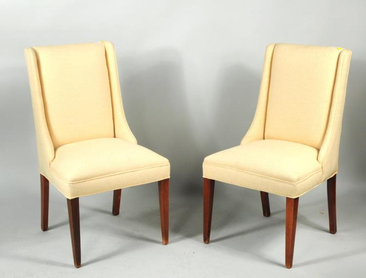 Pair Modernist Upholstered Side Chairs