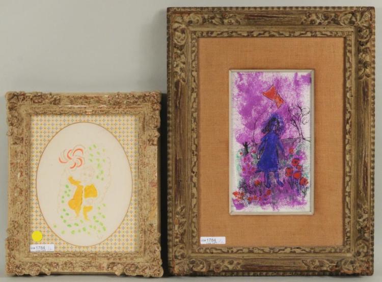 Gloria Vanderbilt Two Works On Paper