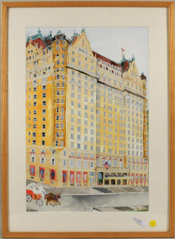 Framed Ink & Watercolor on Paper Plaza Hotel NYC