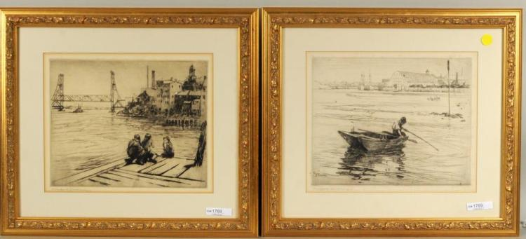 Charles Herbert Woodbury 2 Framed Etchings, Signed