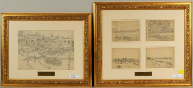 William Kat Group Pencil Sketches, All Signed