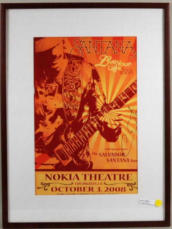Framed, Signed Carlos Santana 2008 Concert Poster
