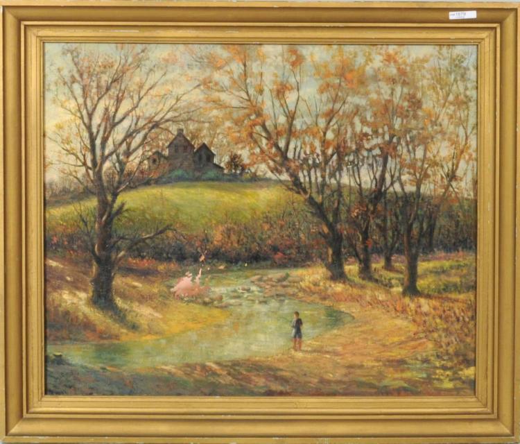 Landscape Scene, Possibly Bucks County, PA O/C