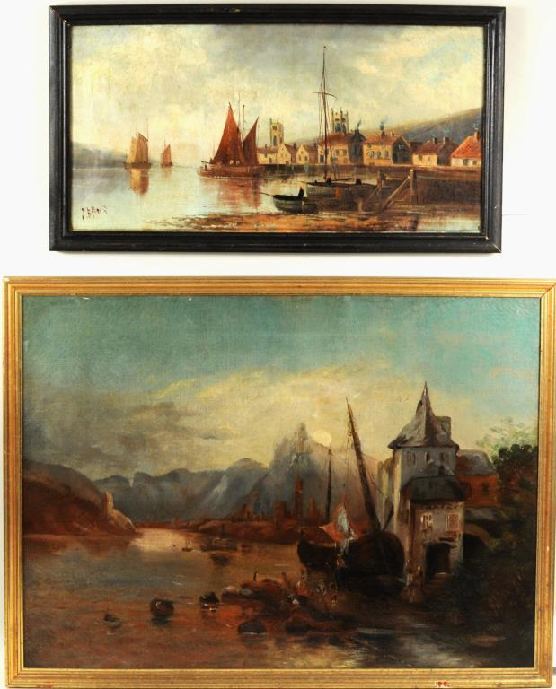 Two Continental Paintings Of Harbor Scenes