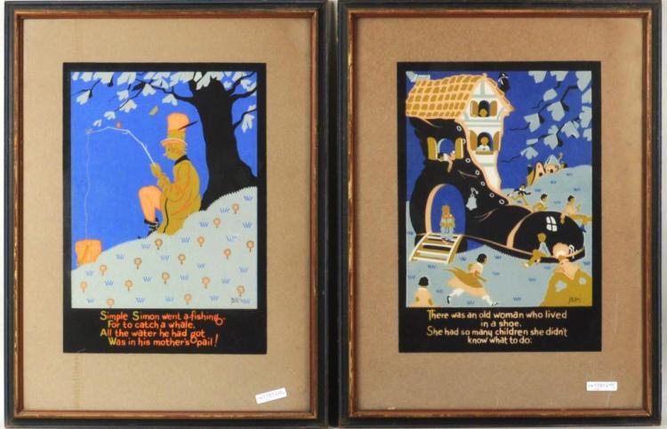 Pair Framed 1930's Nursery Rhyme Silkscreen Illust