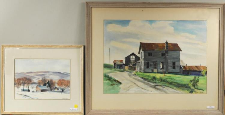 William J. Sauter Two Framed Watercolors