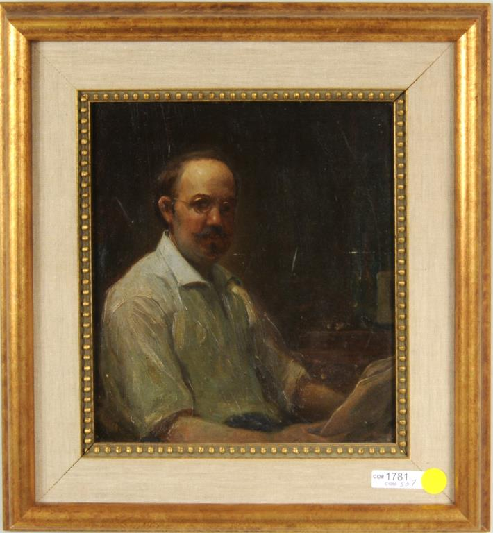 Mid-Century Portrait Of Seated Man, O/B