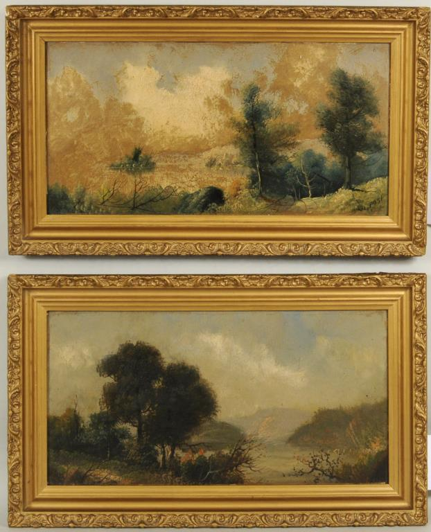 William Merritt Post Pair Of Landscapes O/B
