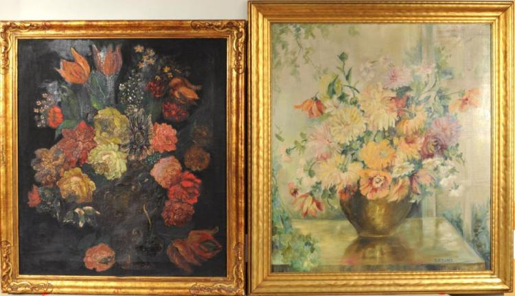Two Large Floral Still Lifes O/C