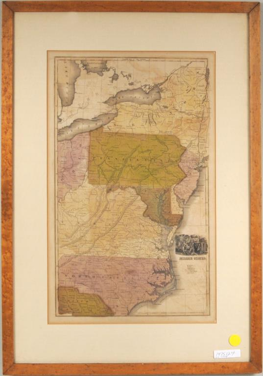 Hand Colored Lithograph Map
