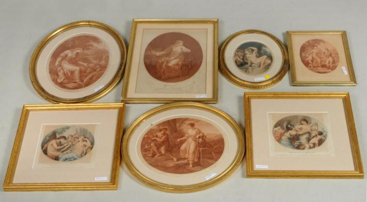 Group Seven English Hand Colored/Sepia Engravings