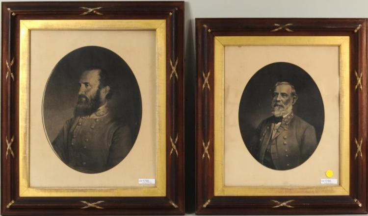 Two Early Framed Lithographs Civil War Generals
