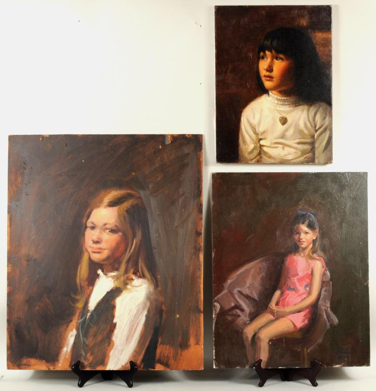 Herbert E. Abrams Three Portraits Of Young Girls