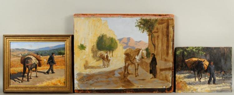 From Estate Herbert E. Abrams, 3 Paintings- Burros