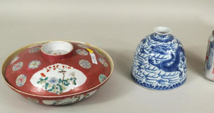 Chinese Porcelain Blue/White Dragon Writer's Coupe
